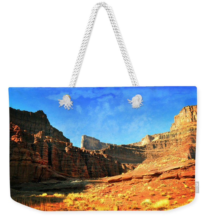 Canyonlands National Park Weekender Tote Bag featuring the photograph Magnificent Butte by Marty Koch