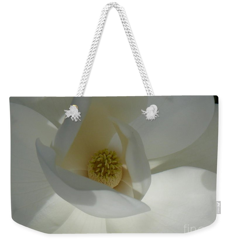 Magnolia Flower Weekender Tote Bag featuring the photograph Christina by Mary Brhel