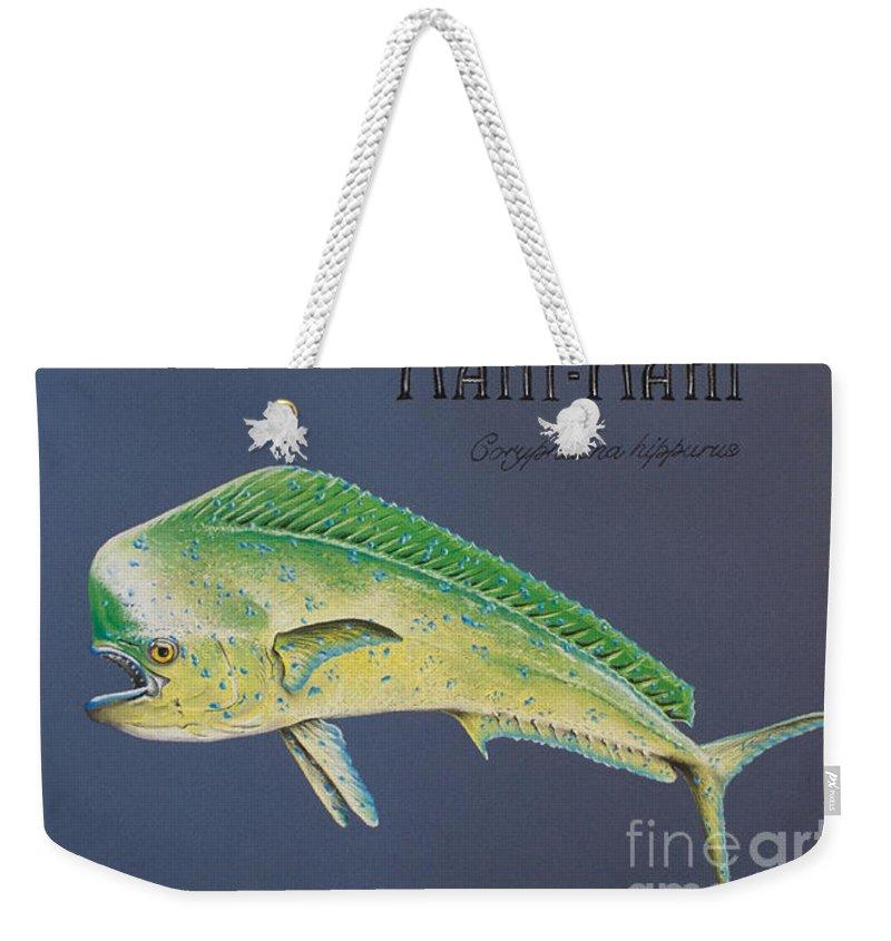 Mahi Mahi Weekender Tote Bag featuring the pastel Mahi-mahi by Katharina Filus