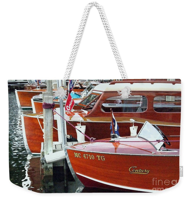 Century Boat Weekender Tote Bag featuring the photograph Mahogany by Neil Zimmerman
