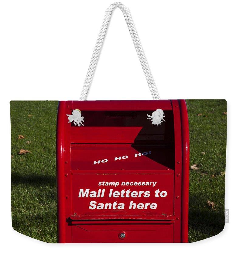 Mail Letters To Santa Here Weekender Tote Bag featuring the photograph Mail Letters To Santa Here by Garry Gay