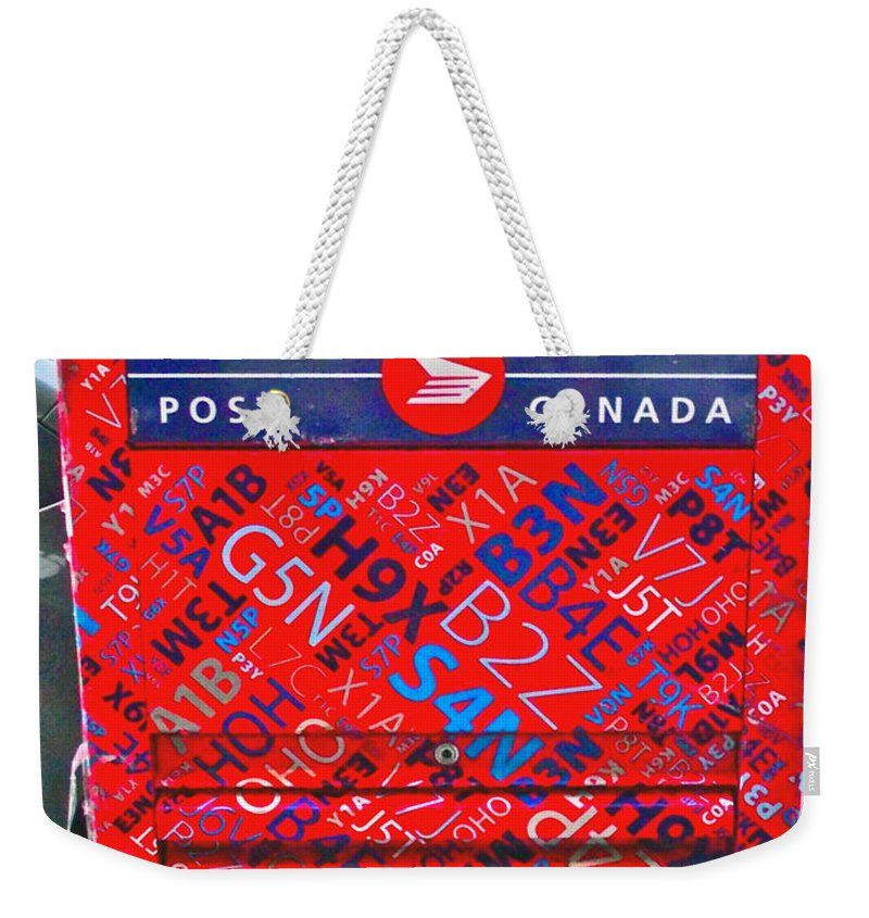 Mailbox On Water Street In Saint John's Weekender Tote Bag featuring the photograph Mailbox On Water Street In Saint John's-nl by Ruth Hager