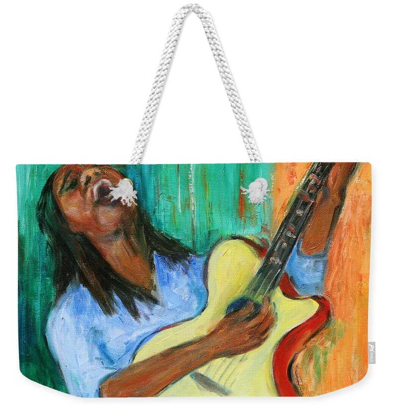 Figurative Weekender Tote Bag featuring the painting Main Stage I by Xueling Zou
