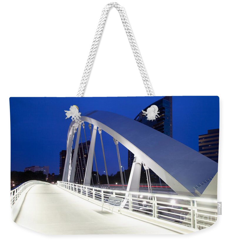 Columbus Weekender Tote Bag featuring the photograph Main Street Bridge by Bill Cobb