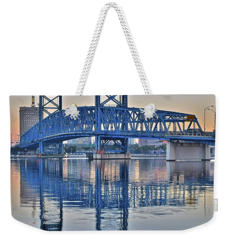 Main Weekender Tote Bag featuring the photograph Main Street Bridge Jacksonville Florida by Frozen in Time Fine Art Photography