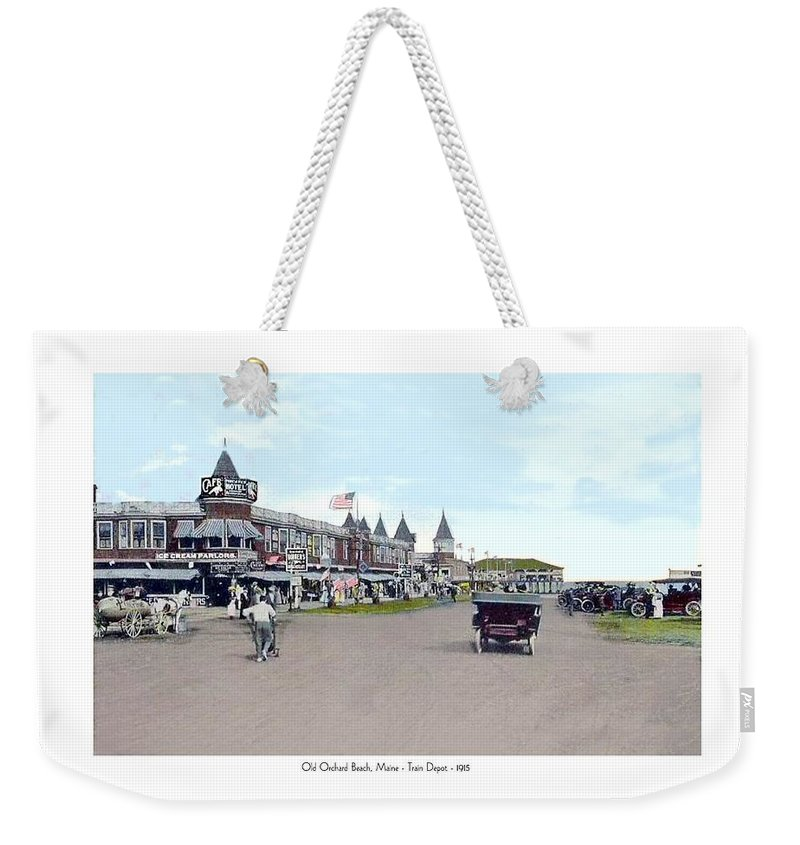 Street Scene Weekender Tote Bag featuring the digital art Maine - Old Orchard Beach Train Depot - 1910 by John Madison