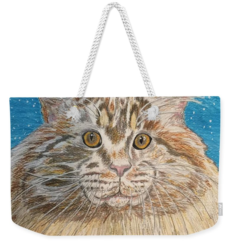 Maine Weekender Tote Bag featuring the painting Maine Coon Cat by Kathy Marrs Chandler