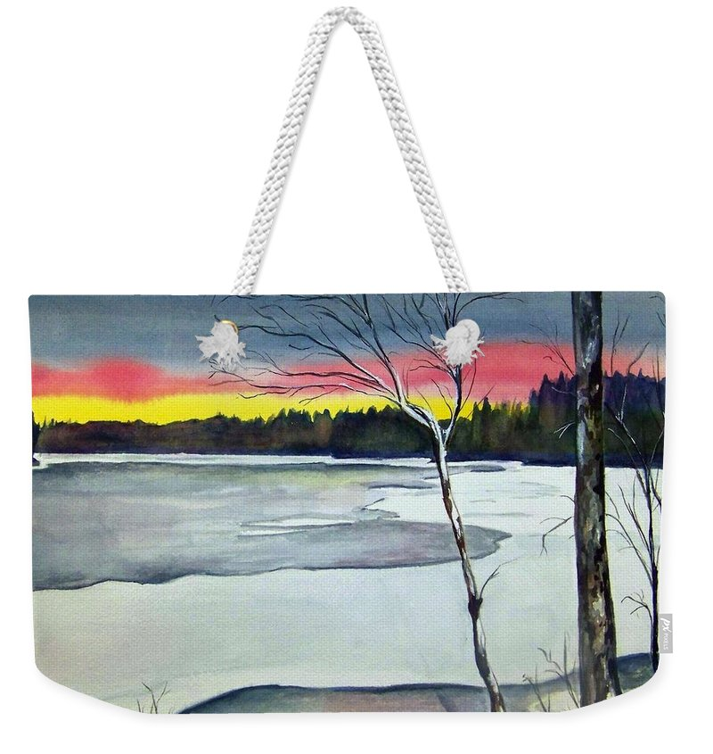 Landscape Weekender Tote Bag featuring the painting Maine Winter Sunset by Brenda Owen