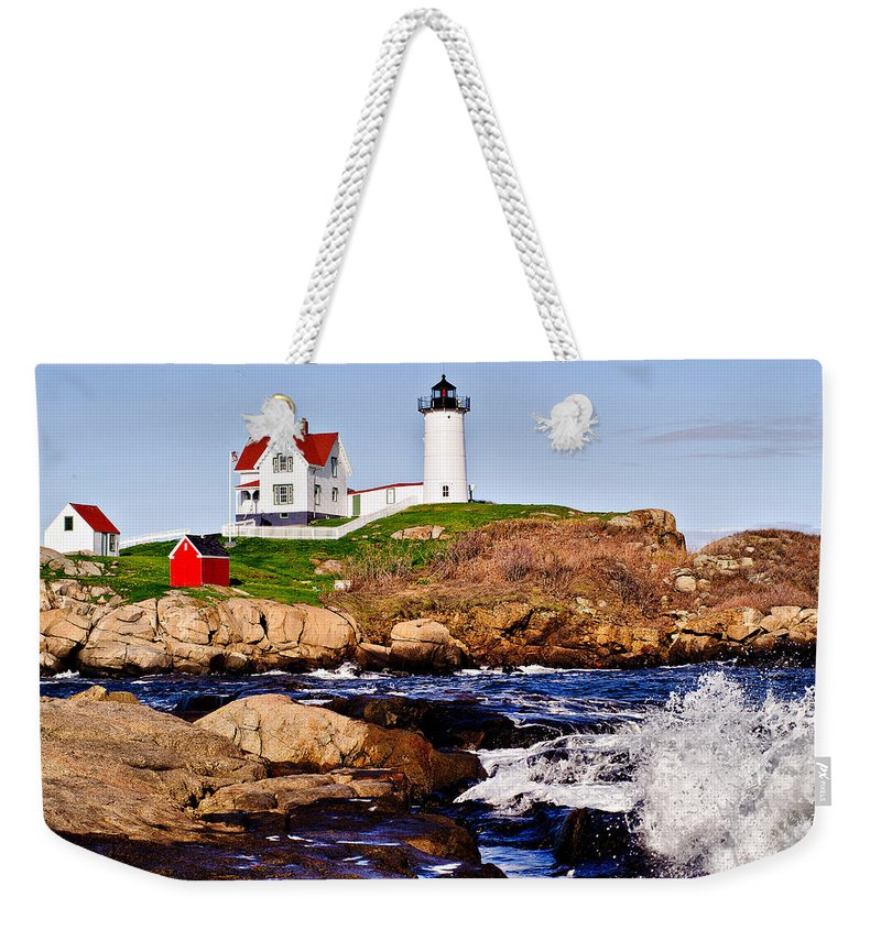 Nubble Light Weekender Tote Bag featuring the photograph Maine's Nubble Light by Mitchell R Grosky
