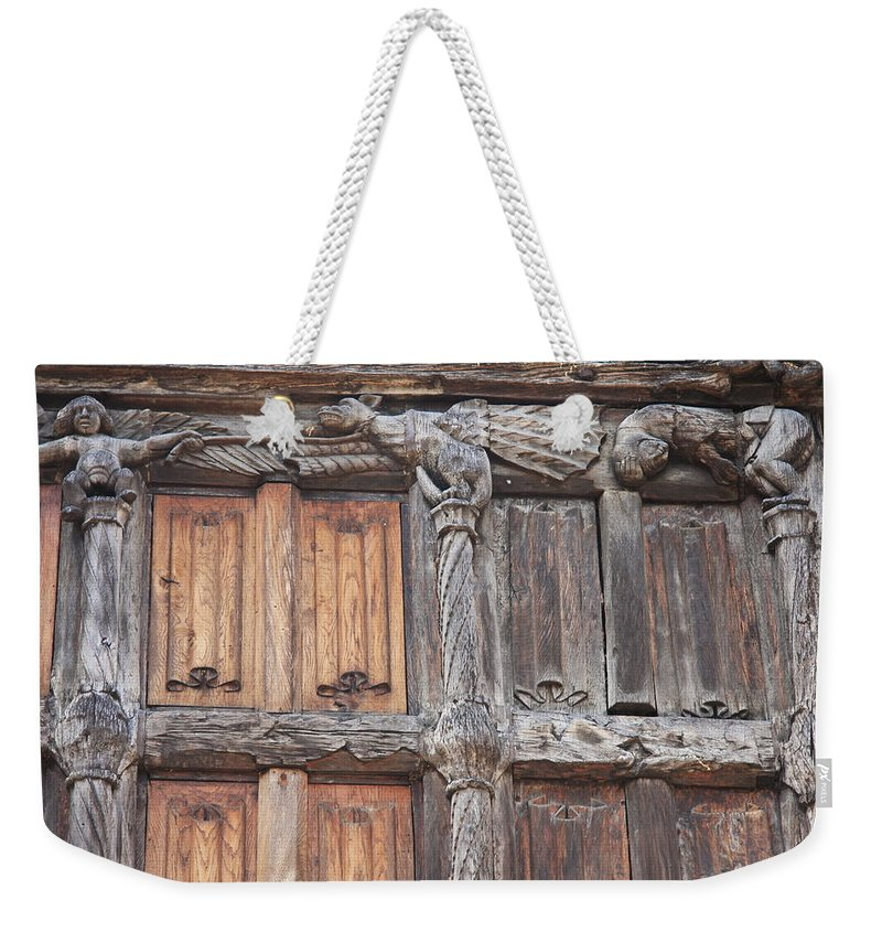 Wood Front Weekender Tote Bag featuring the photograph Maison De Bois Macon - Detail Wood Front by Christiane Schulze Art And Photography
