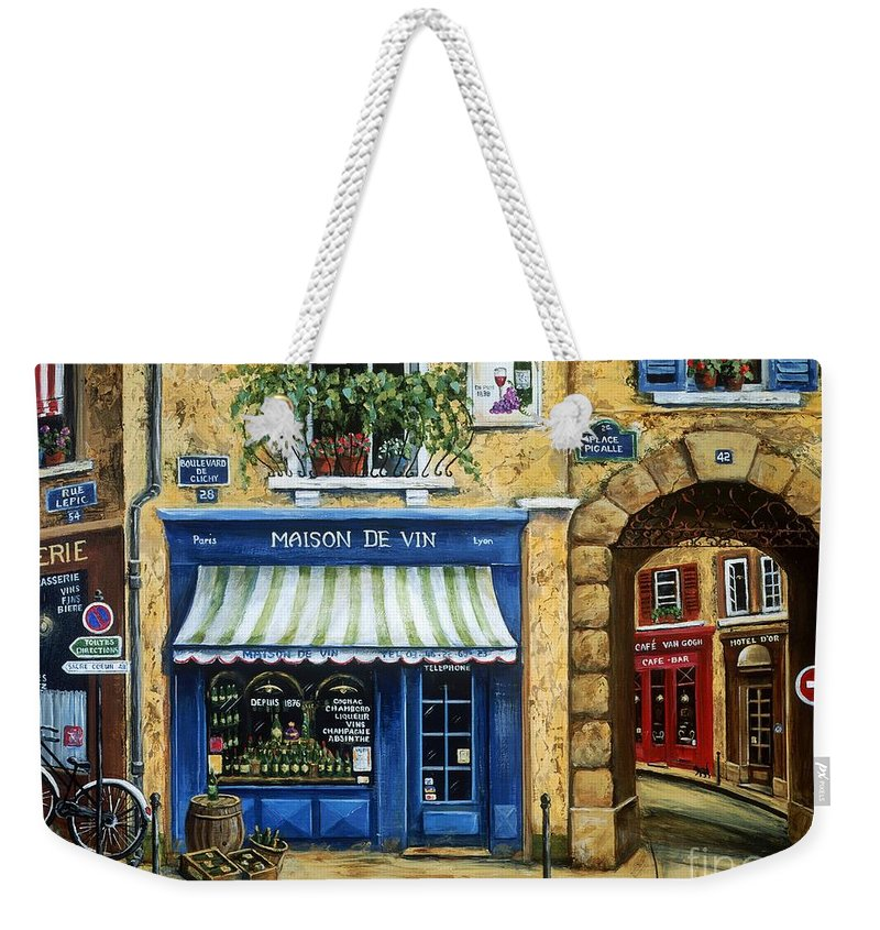 Wine Weekender Tote Bag featuring the painting Maison De Vin by Marilyn Dunlap