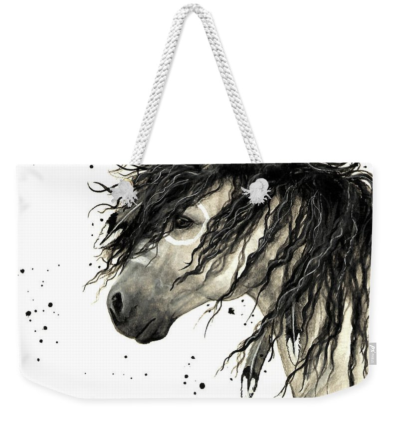 Mustang Horse Art Weekender Tote Bag featuring the painting Majestic Grey Spirit Horse #44 by AmyLyn Bihrle
