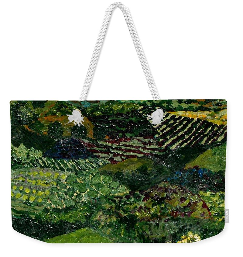 Landscape Weekender Tote Bag featuring the painting Majestic Valley by Allan P Friedlander