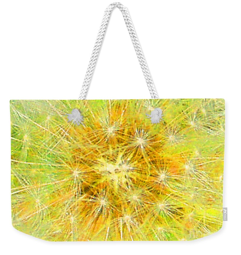 Yellow Weekender Tote Bag featuring the mixed media Make A Wish In Greenish Yellow by Jennifer E Doll