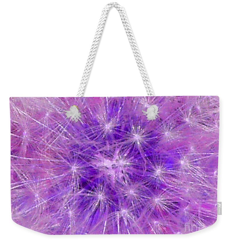 Purple Weekender Tote Bag featuring the mixed media Make A Wish In Purple by Jennifer E Doll