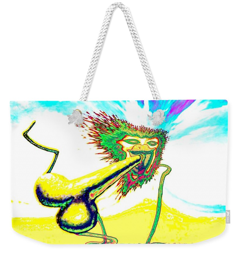 Genio Weekender Tote Bag featuring the mixed media Make Love Not War by Genio GgXpress
