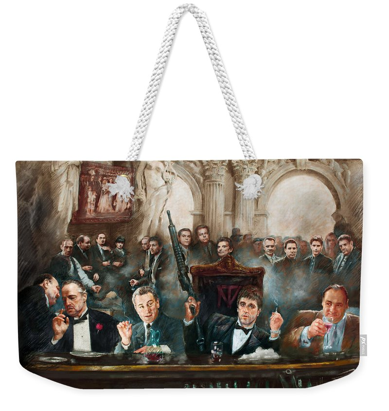 Gangsters Weekender Tote Bag featuring the mixed media Make Way For The Bad Guys Col by Ylli Haruni