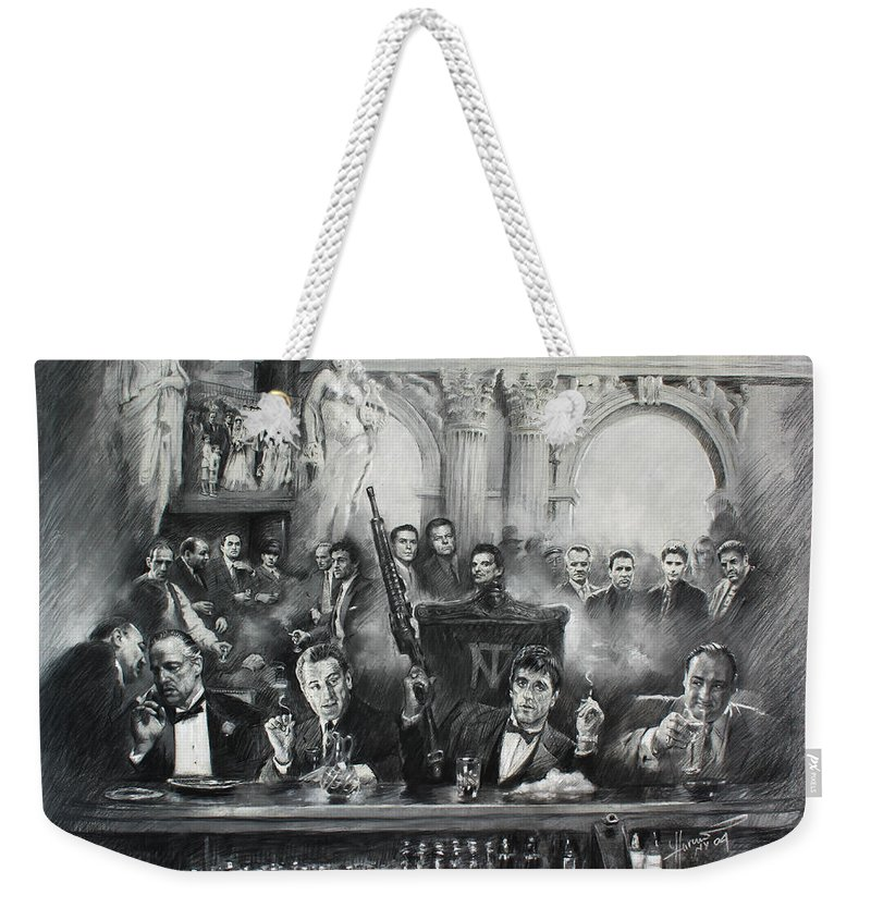 Gangsters Weekender Tote Bag featuring the drawing Make Way For The Bad Guys by Ylli Haruni