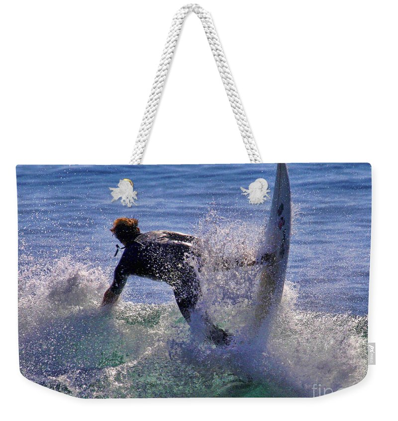 Surfer Weekender Tote Bag featuring the photograph Making The Turn By Diana Sainz by Diana Raquel Sainz