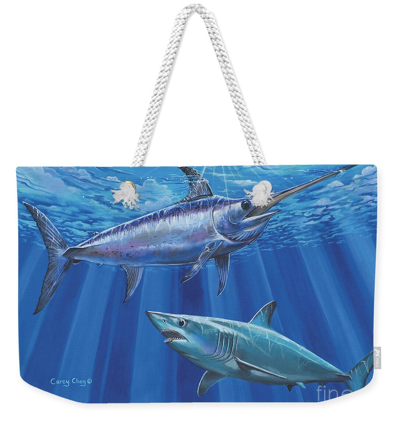 Swordfish Weekender Tote Bag featuring the painting Mako Sword Off0024 by Carey Chen