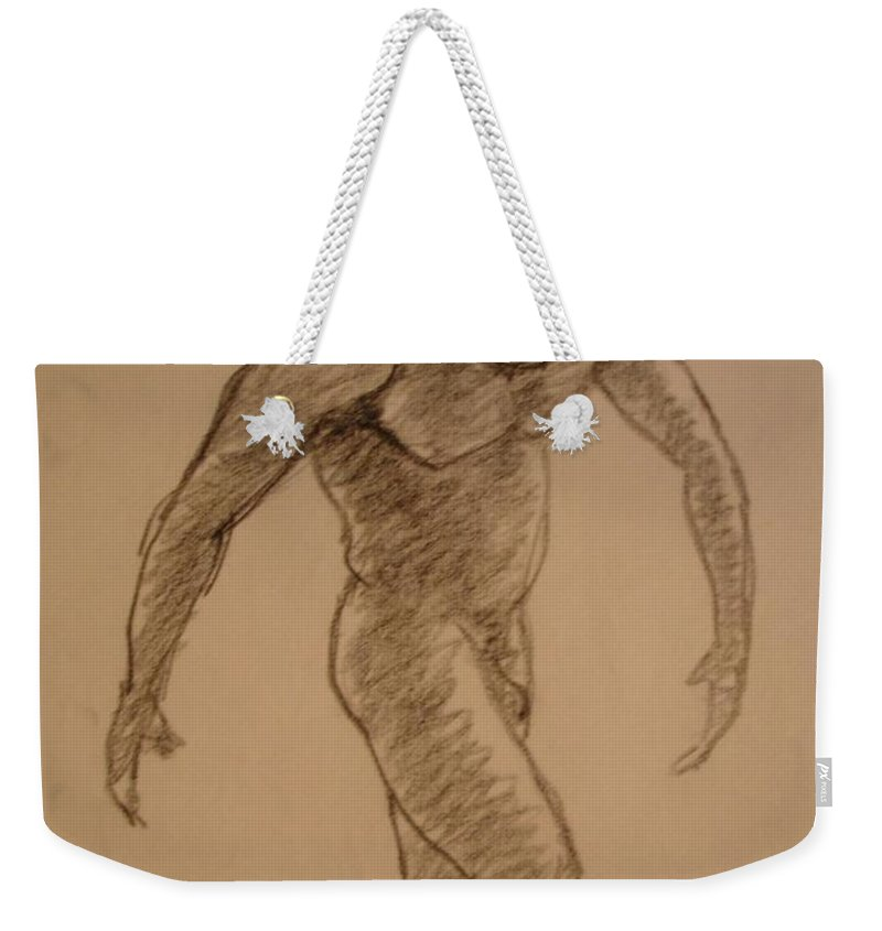 Genio Weekender Tote Bag featuring the drawing Male Croquis by Genio GgXpress