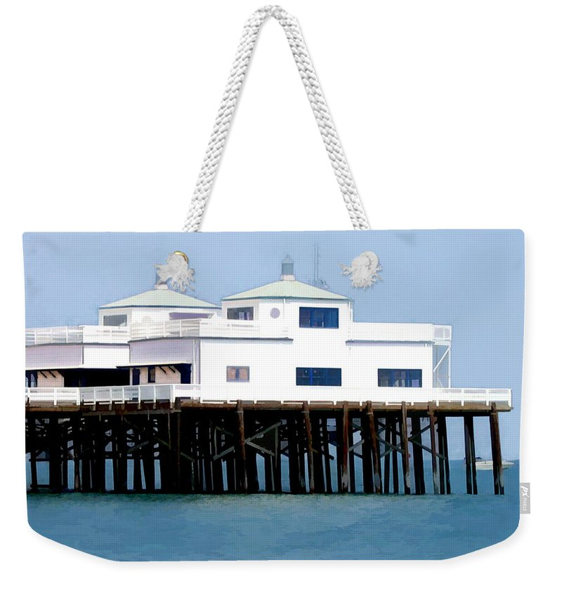 Pier Weekender Tote Bag featuring the painting Malibu Pier On A California Blue Sky Day by Elaine Plesser