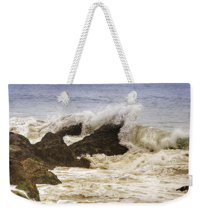 Point Weekender Tote Bag featuring the photograph Malibu Waves by Ricky Barnard