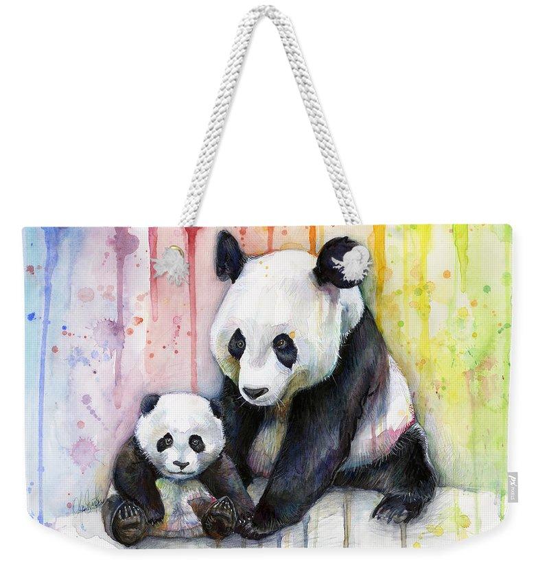 Watercolor Weekender Tote Bag featuring the painting Panda Watercolor Mom and Baby by Olga Shvartsur