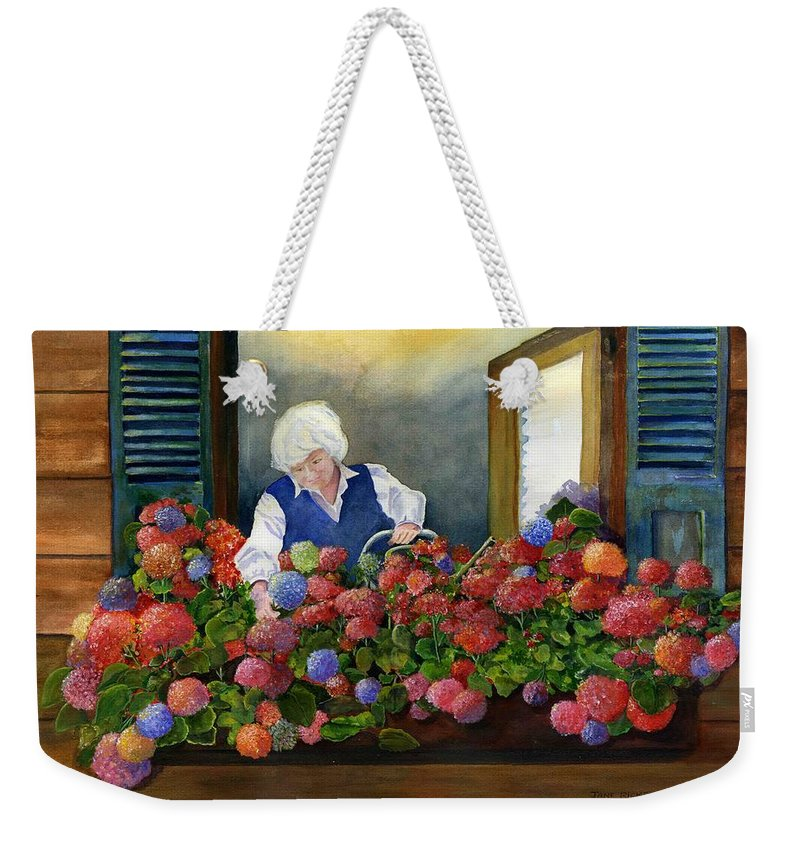 Window Weekender Tote Bag featuring the painting Mama's Window Garden by Jane Ricker