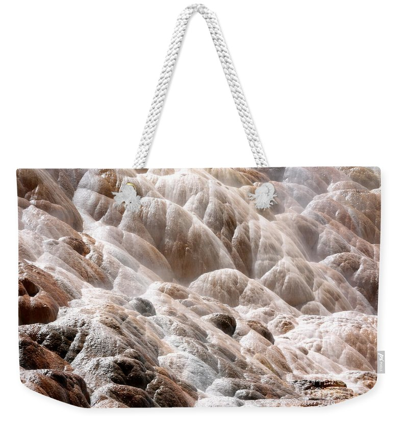 Wyoming Weekender Tote Bag featuring the photograph Mammoth Hot Springs Closeup by Carol Groenen