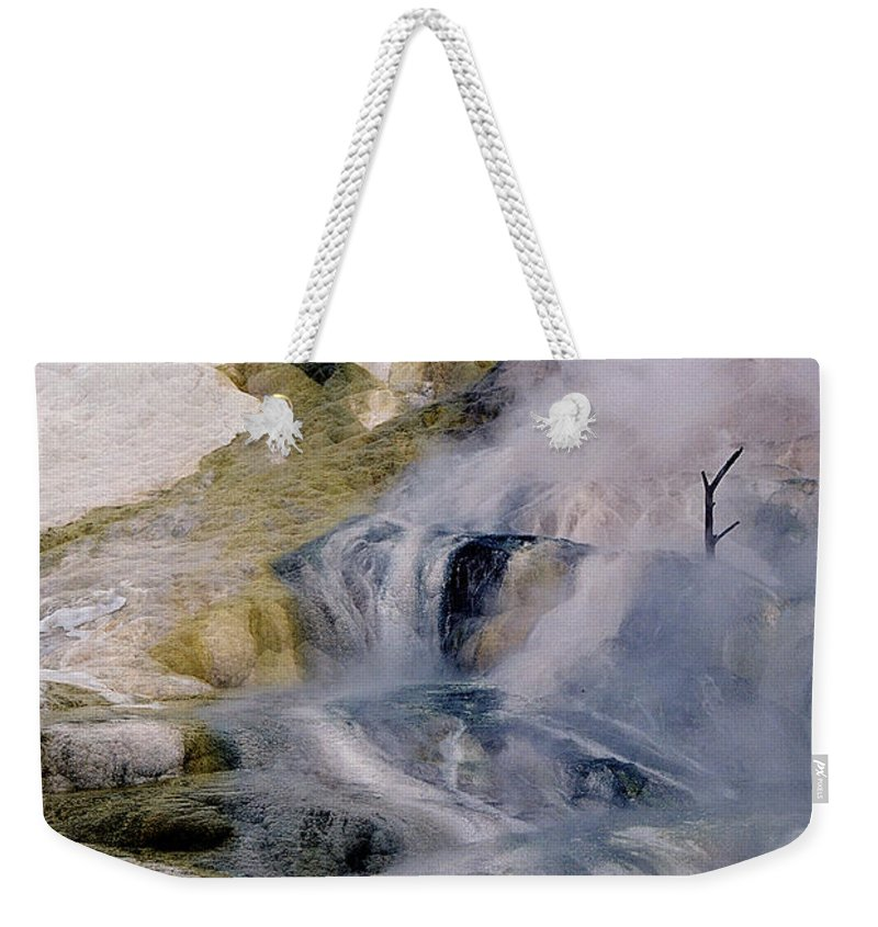 Mammoth Weekender Tote Bag featuring the photograph Mammoth Hot Springs Terrace by Sharon Elliott