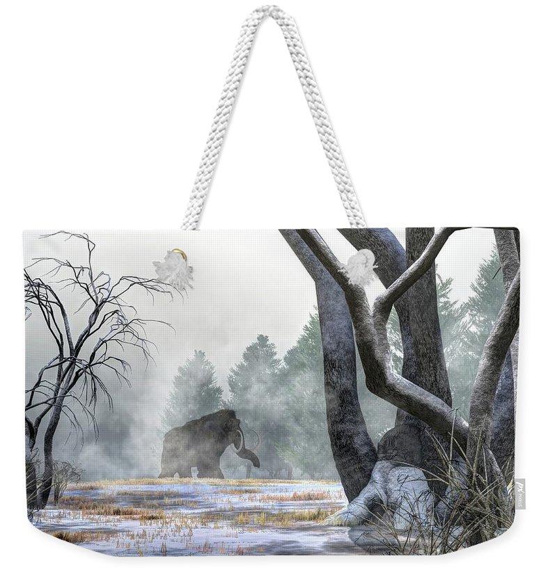Woolly Mammoth Weekender Tote Bag featuring the digital art Mammoth In The Distance by Daniel Eskridge