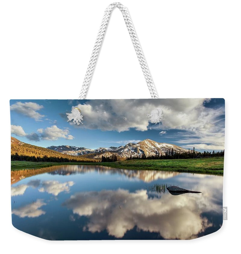 Scenics Weekender Tote Bag featuring the photograph Mammoth Peak Reflection by Tom Grubbe