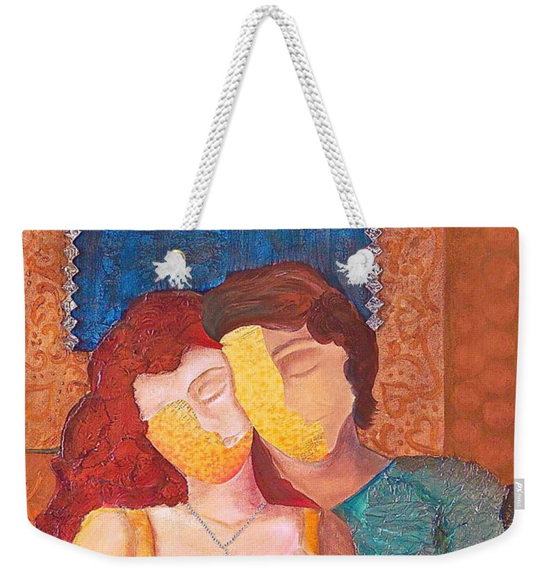 Man Weekender Tote Bag featuring the painting Man And Woman by Debi Starr