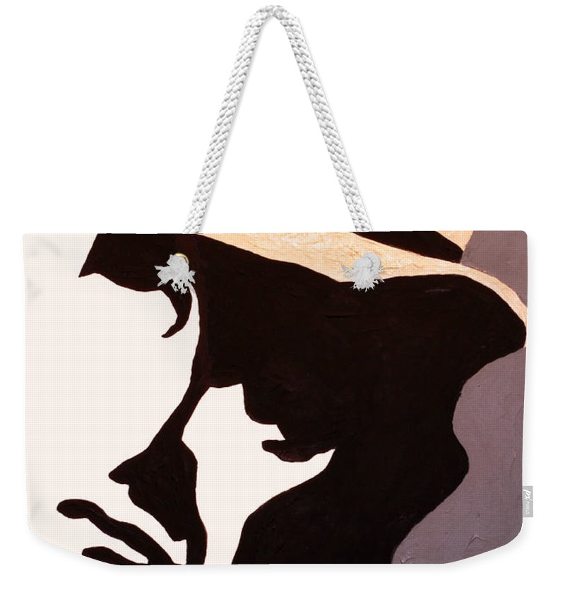 Man Weekender Tote Bag featuring the painting Man In Hat by Andrew Petras