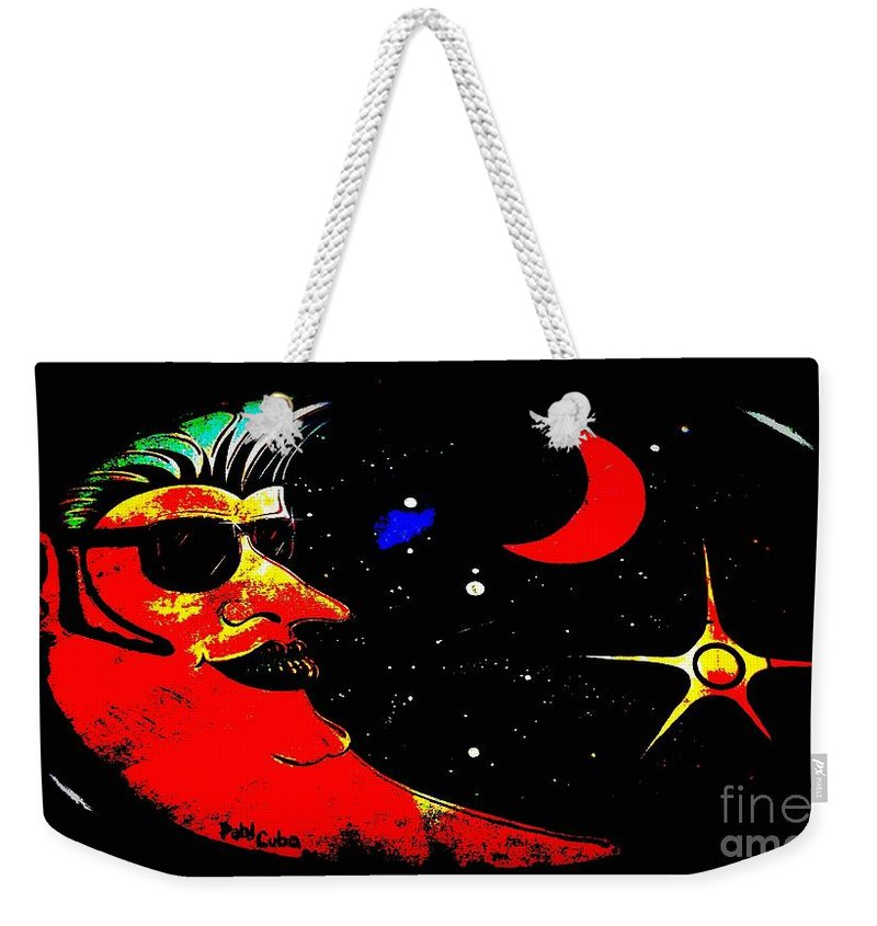 Venice Cafe' Weekender Tote Bag featuring the photograph Man In The Moon Edited by Kelly Awad