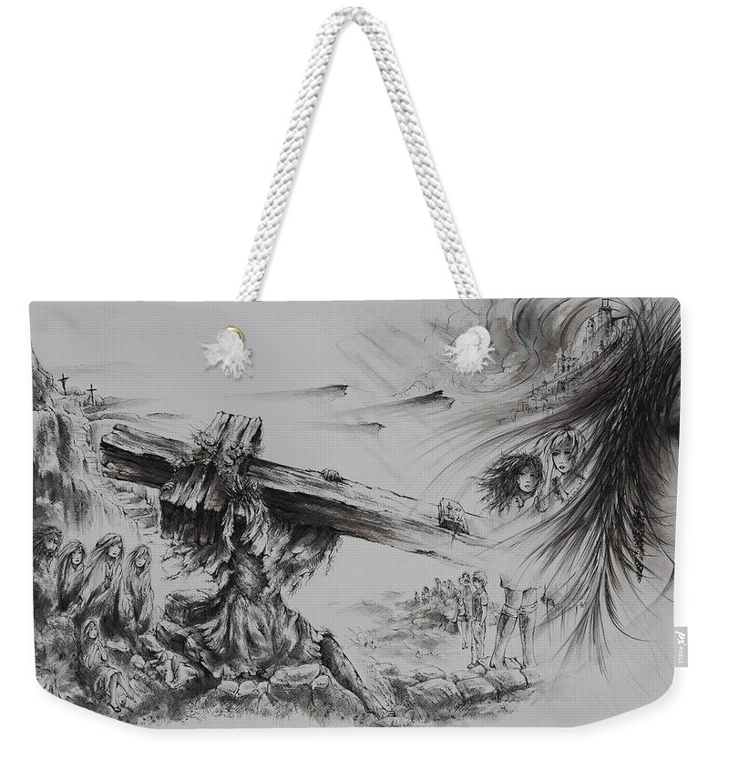 Christ Weekender Tote Bag featuring the painting Man Of Sorrows by Rachel Christine Nowicki