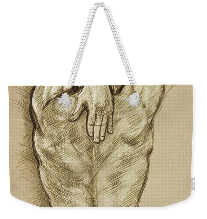 Man Weekender Tote Bag featuring the drawing Man Sketch by Rob Corsetti