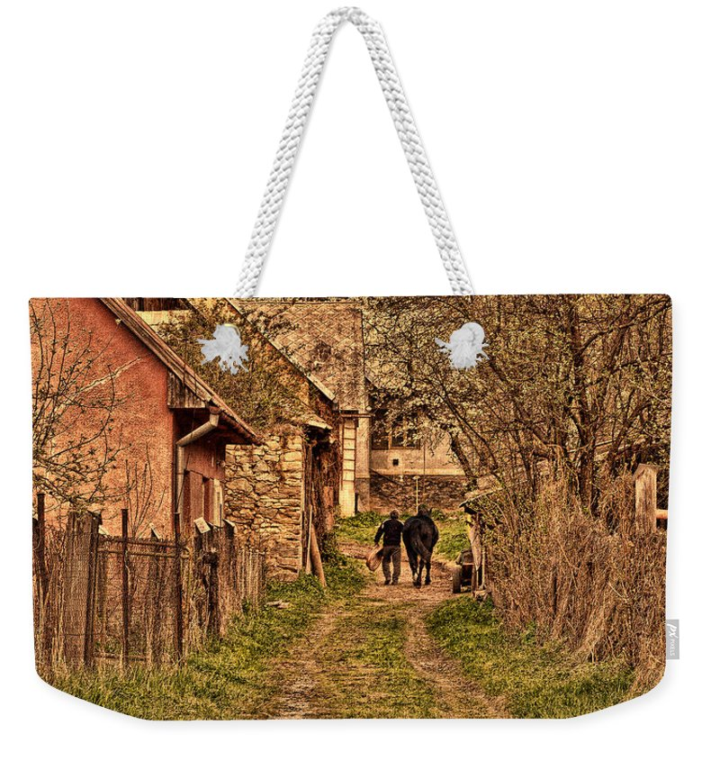 Man Weekender Tote Bag featuring the photograph Man With A Horse by Les Palenik