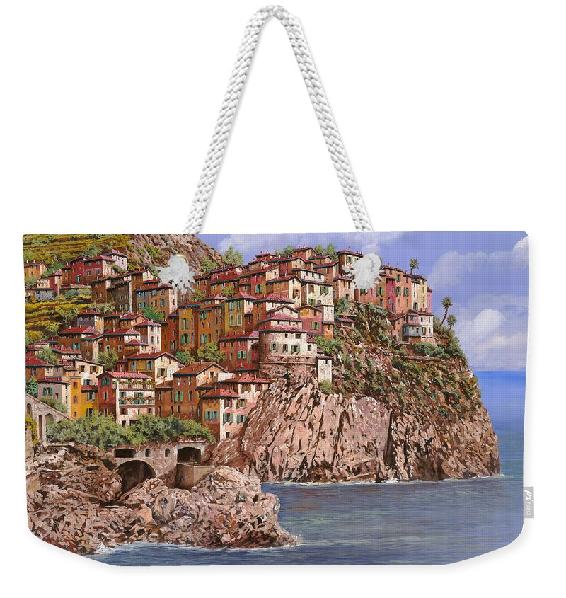 Seascape Weekender Tote Bag featuring the painting Manarola  by Guido Borelli
