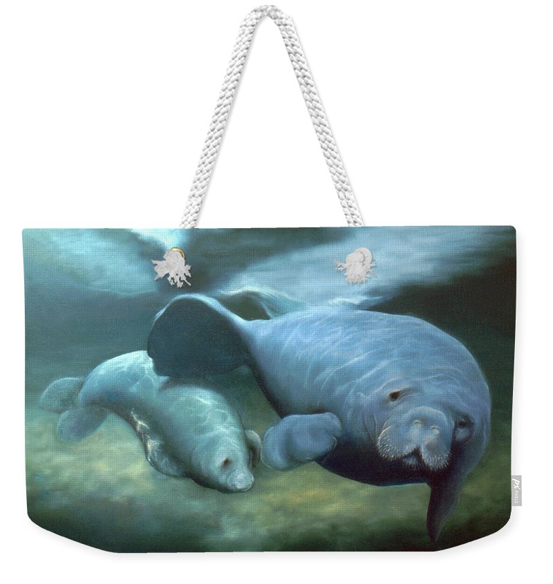 Manatees Weekender Tote Bag featuring the painting Manatee Madonna by Anni Adkins