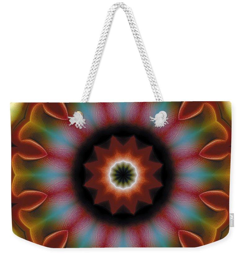Tibetan Art Weekender Tote Bag featuring the digital art Mandala 101 by Terry Reynoldson