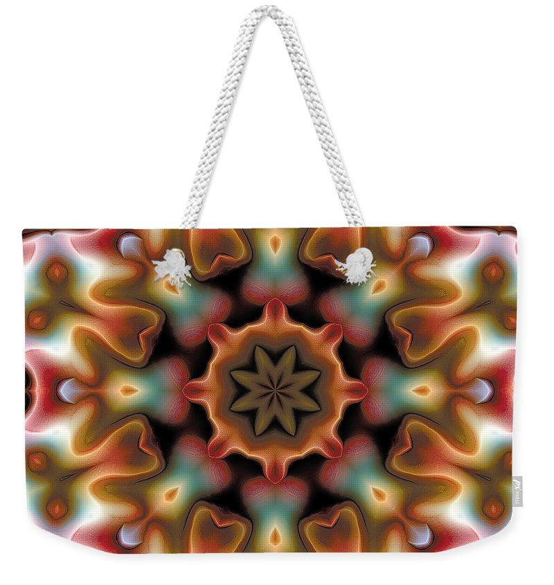 Tibetan Art Weekender Tote Bag featuring the digital art Mandala 95 by Terry Reynoldson