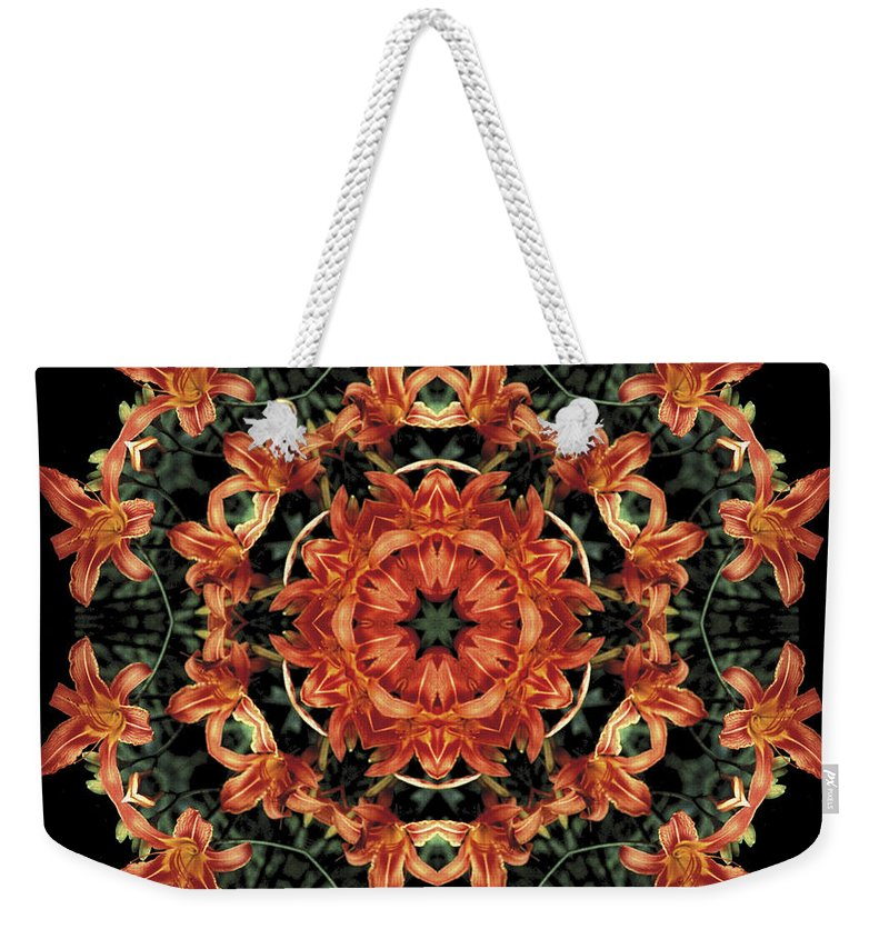 Mandala Weekender Tote Bag featuring the photograph Mandala Daylily by Nancy Griswold