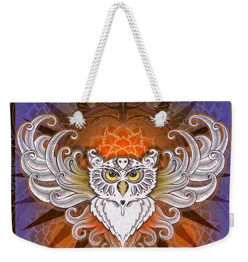 Owl Weekender Tote Bag featuring the mixed media Mandala Owl by Julie Oakes