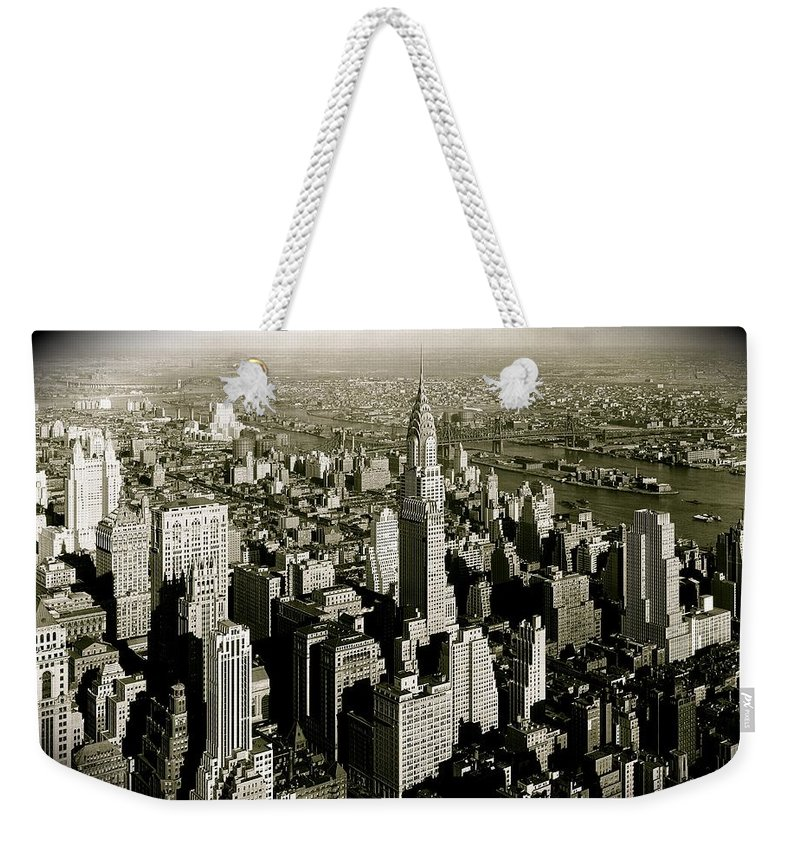 Manhattan Prints Weekender Tote Bag featuring the photograph Manhattan And Chrysler Building II by Monique's Fine Art