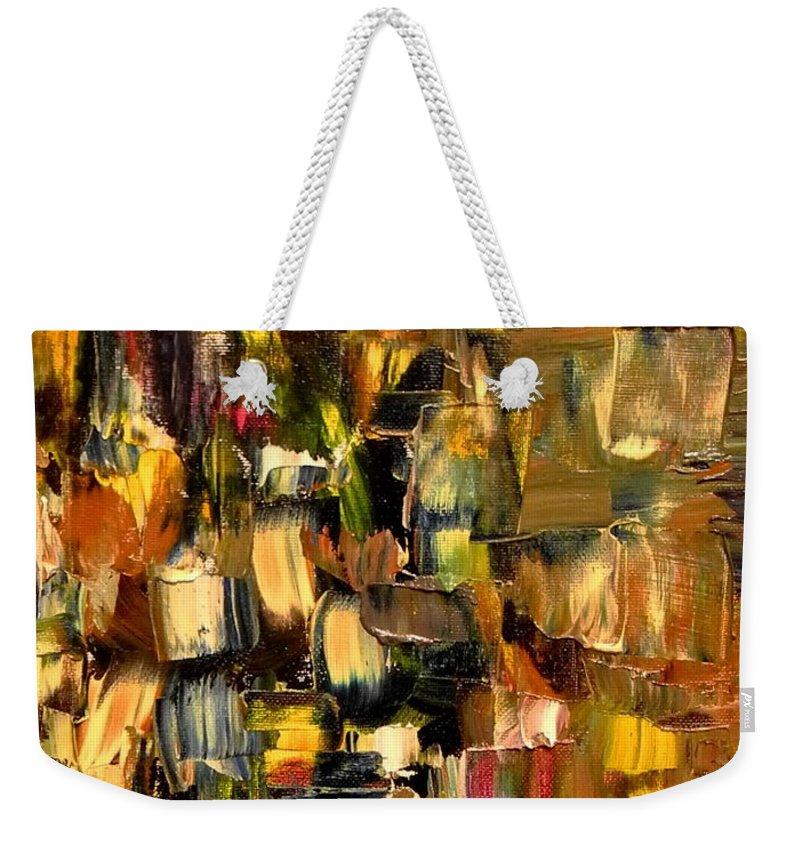 Manhattan Weekender Tote Bag featuring the painting Manhattan At Dawn by Sue McElligott