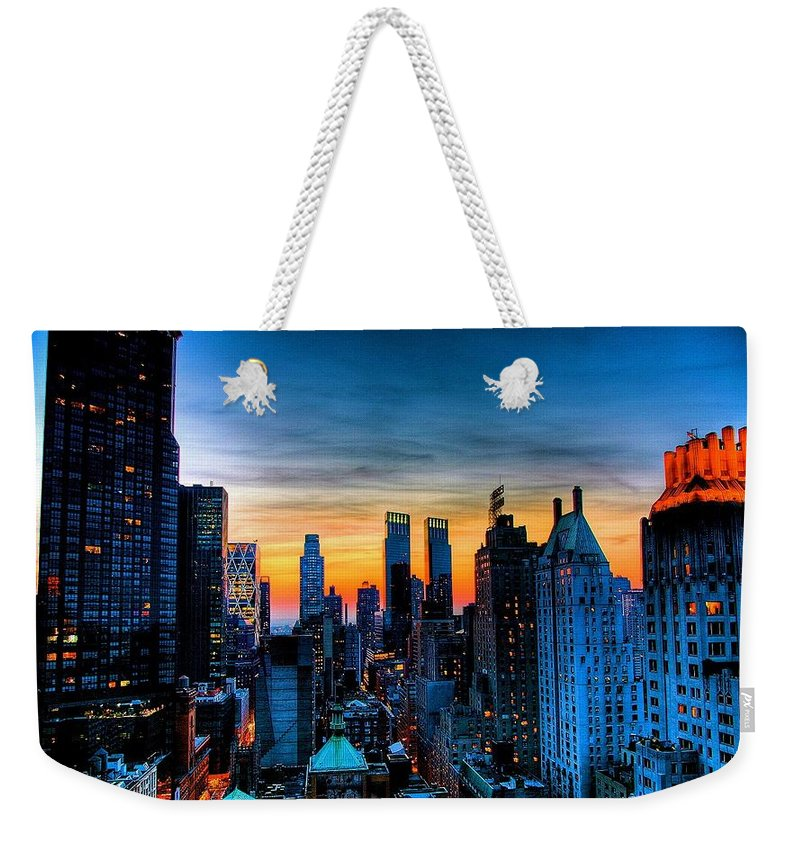 New York Prints Weekender Tote Bag featuring the photograph Manhattan At Sunset by Monique's Fine Art