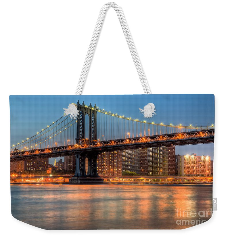Clarence Holmes Weekender Tote Bag featuring the photograph Manhattan Bridge I by Clarence Holmes
