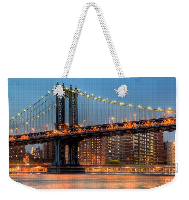 Clarence Holmes Weekender Tote Bag featuring the photograph Manhattan Bridge Panoramic by Clarence Holmes